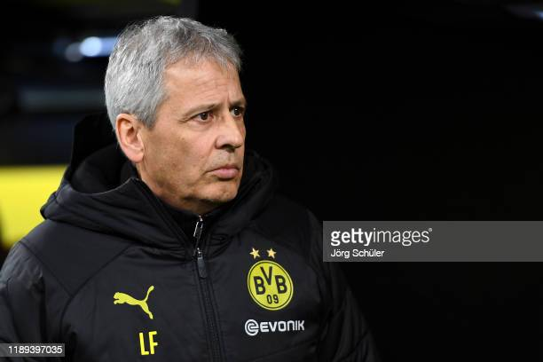 Borussia Dortmund Manager / Head Coach, Lucien Favre looks on prior to the Bundesliga match between Borussia Dortmund and SC Paderborn 07 at Signal...