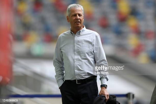 Borussia Dortmund Manager / Head Coach Lucien Favre looks on prior to the Bundesliga match between Fortuna Duesseldorf and Borussia Dortmund at...