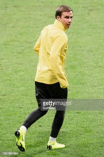 Borussia Dortmund Mario Gotze during training session the day before UEFA Champions League match between Atletico de Madrid and Borussia Dortmund at...
