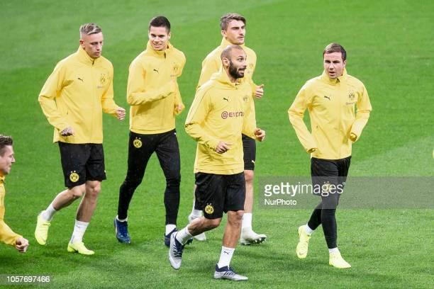 Borussia Dortmund Maximilian Philipp Omer Toprak and Mario Gotze during training session the day before UEFA Champions League match between Atletico...