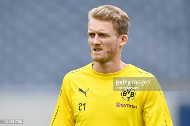 Borussia Dortmund midfielder Andre Schurrle warms up during Borussia Dortmunds practice session ahead of the International Champions Cup match...