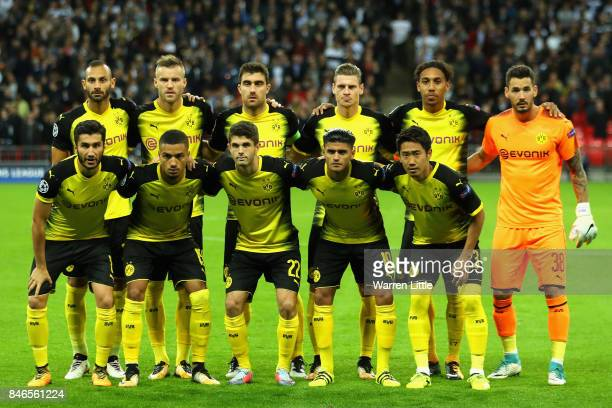 Borussia Dortmund pose for a team photograph during the UEFA Champions League group H match between Tottenham Hotspur and Borussia Dortmund at...