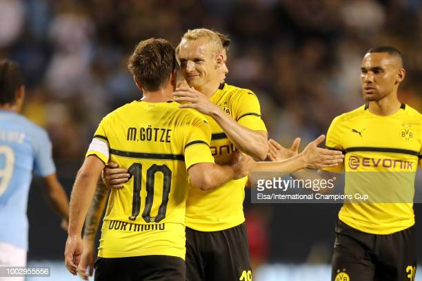 Borussia Dortmund react after leading at the half against the Manchester City during an International Champions Cup match at Soldier Field on July 20...