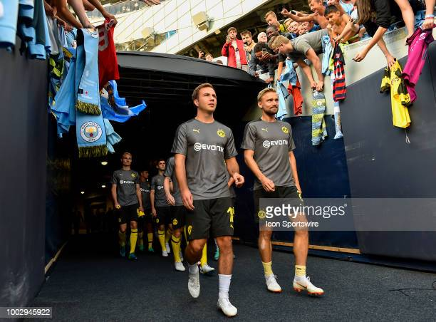 Borussia Dortmund take the field before the game against the Manchester City on July 20 2018 at Soldier Field in Chicago Illinois