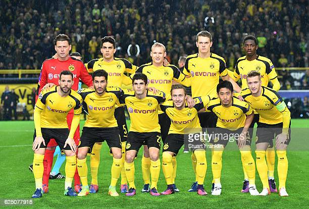 Borussia Dortmund team pose for a photograph prior to the UEFA Champions League Group F match between Borussia Dortmund and Legia Warszawa at Signal...