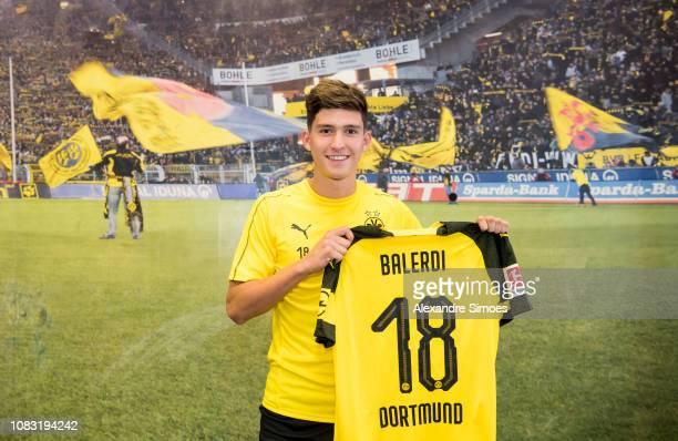 Borussia Dortmund unveils new signing Leonardo Balerdi at the training ground on January 14 2019 in Dortmund Germany