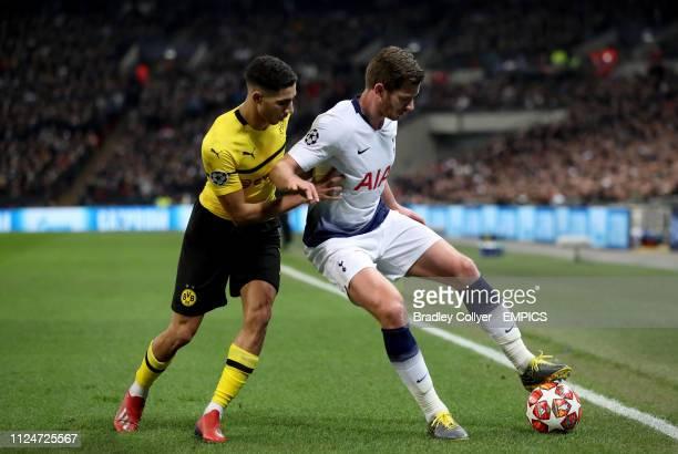 Borussia Dortmund's Achraf Hakimi and Tottenham Hotspur's Jan Vertonghen battle for the ball Tottenham Hotspur v Borussia Dortmund UEFA Champions...