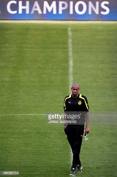 Borussia Dortmund's Brazilian Felipe Santana takes part in a trainnig session at the Rosaleda stadium in Malaga on April 2 on the eve of the UEFA...