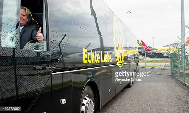 Borussia Dortmund's bus driver Christian Schulz waits for the team at the London airport prior to their UEFA Champions League match against FC...
