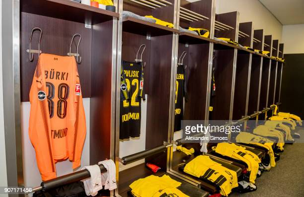 Borussia Dortmund's changing room prior to the Bundesliga match between Hertha BSC and Borussia Dortmund at the Olympiastadion on January 19 2018 in...