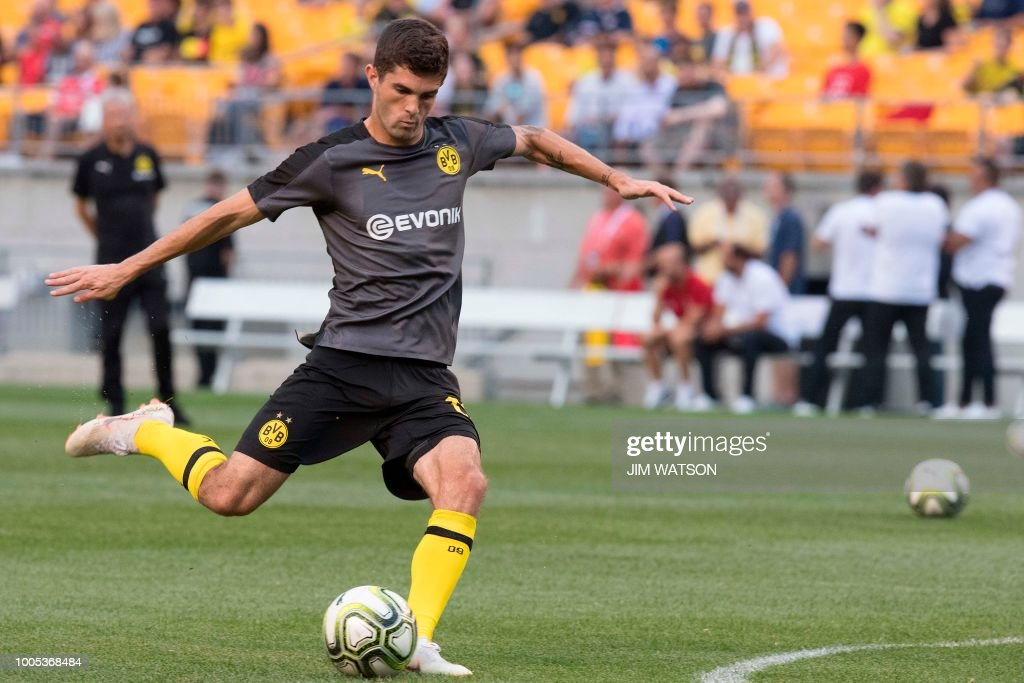 Borussia Dortmund's Christian Pulisic warms up ahead of his team's match against Benfica during the 2018 International Champions Cup at Heinz Field in Pittsburgh, PA, on July 25, 2018.