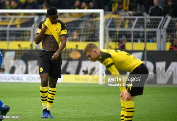 Borussia Dortmund's DanAxel Zagadou and Jacob Bruun Larsen react after the Bundesliga match between Borussia Dortmund and Hertha BSC at the Signal...