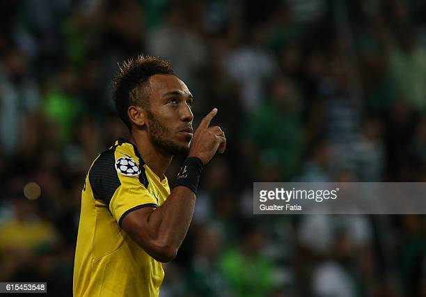 Borussia DortmundÕs forward PierreEmerick Aubameyang celebrates after scoring a goal during the UEFA Champions League match between Sporting Clube de...