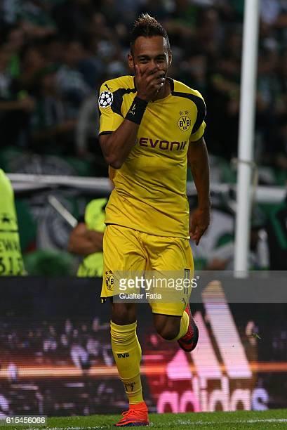 Borussia DortmundÕs forward PierreEmerick Aubameyang celebrates after scoring a goal during the UEFA Champions League match between Sporting Clube de...