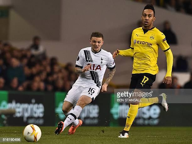 Borussia Dortmund's Gabonese striker PierreEmerick Aubameyang vies with Tottenham Hotspur's English defender Kieran Trippier during the UEFA Europa...