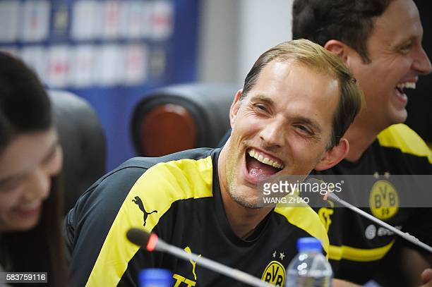 Borussia Dortmund's head coach Thomas Tuchel attends a press conference in Shenzhen south China's Guangdong province on July 27 ahead of the...