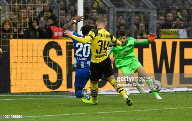 Borussia Dortmund's Jacob Bruun Larsen in action during the Bundesliga match between Borussia Dortmund and Hertha BSC at the Signal Iduna Park on...
