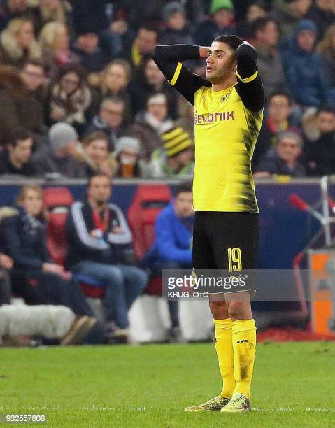 Borussia Dortmund's Mahmoud Mo Dahoud reacts after the Europa League Round of 16 second leg football match between FC Salzburg and BV 09 Borussia...