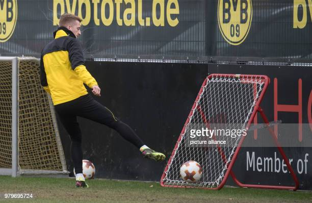 Borussia Dortmund's Marco Reus in action during a training session ahead of Thursday's UEFA Europa League round of 16 soccer match between Borussia...