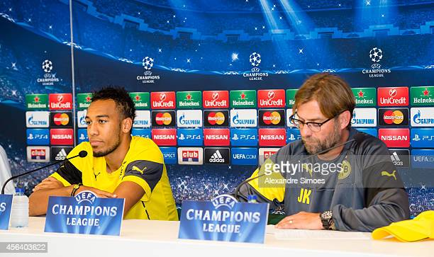 Borussia Dortmund's PierreEmerick Aubameyang and head coach Juergen Klopp during the press conference before their UEFA Champions League first round...