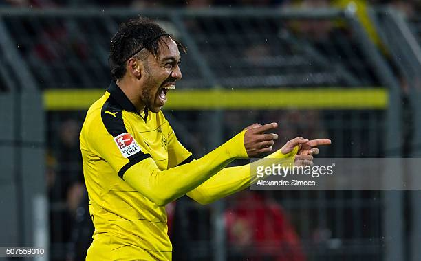 Borussia Dortmund's PierreEmerick Aubameyang celebrates scoring the winning goal during the Bundesliga match between Borussia Dortmund and FC...