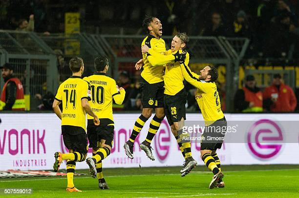 Borussia Dortmund's PierreEmerick Aubameyang celebrates scoring the opening goal during the Bundesliga match between Borussia Dortmund and FC...