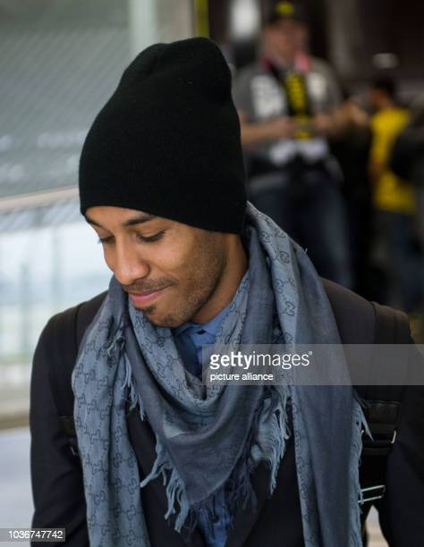 Borussia Dortmund's PierreEmerick Aubameyang heads in the airport in Lisbon Portugal 15 February 2017 The Bundesliga side is returning to Germany...