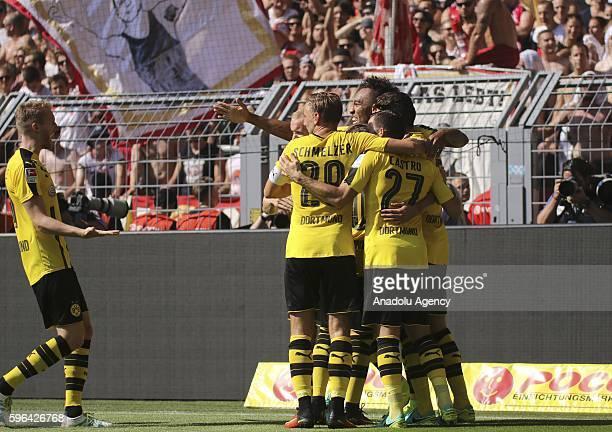 Borussia Dortmund's players celebrate scoring a goal during their Bundesliga soccer match between Borussia Dortmund and FSV Mainz 05 at the...