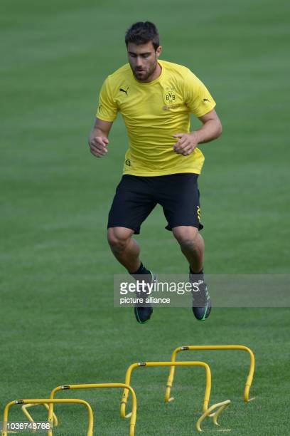 Borussia Dortmund's Sokratis practices during the first practice session in Bad Ragaz, Switzerland, 11 July 2013. Borussia Dortmund is preparing for...