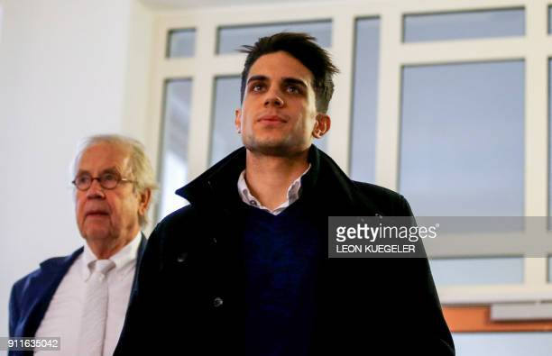 Borussia Dortmund's Spanish defender Marc Bartra arrives to testify in the trial of Sergej W a man suspected of detonating three bombs targeting the...