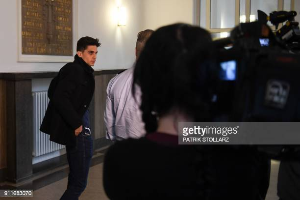 Borussia Dortmund's Spanish defender Marc Bartra leaves after he testified in the trial of Sergej W a man suspected of detonating three bombs...