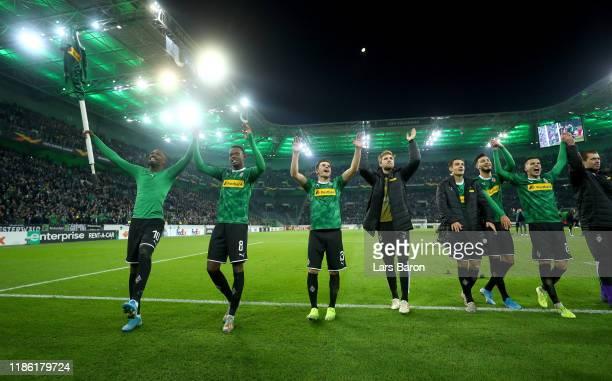 Borussia Moenchengladbach celebrate victory during the UEFA Europa League group J match between Borussia Moenchengladbach and AS Roma at...