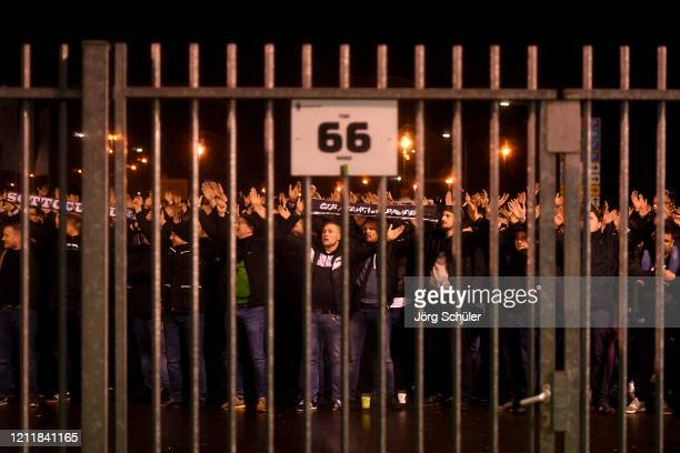 Borussia Moenchengladbach celebrate victory outside the stadium gates after the Bundesliga match between Borussia Moenchengladbach and 1. FC Koeln at...
