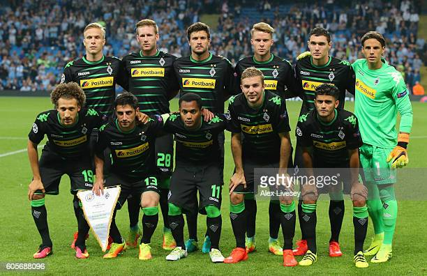 Borussia Moenchengladbach line up prior to the UEFA Champions League match between Manchester City FC and VfL Borussia Moenchengladbach at Etihad...