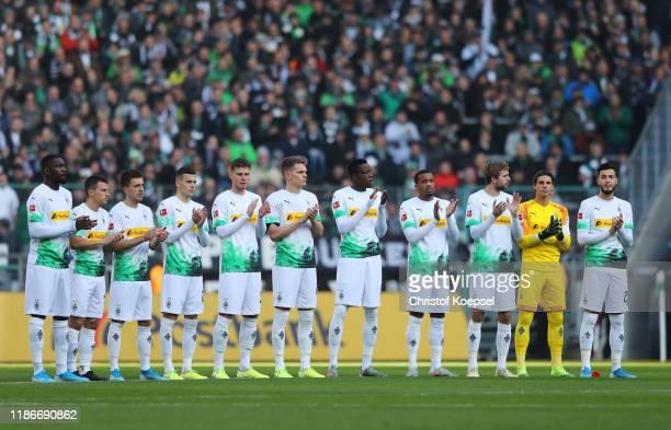Borussia Moenchengladbach players remember former national goalkeeper Robert Enke, who died on November 10 prior to the Bundesliga match between...