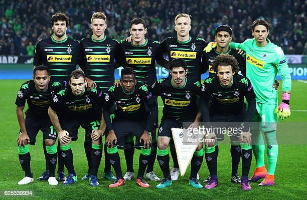 Borussia Moenchengladbach pose for a team photograph before the UEFA Champions League match between VfL Borussia Moenchengladbach and Manchester City...