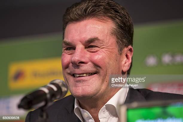 Borussia Moenchengladbach unveils new Head Coach Dieter Hecking at Borussia-Park on January 04, 2017 in Moenchengladbach, Germany.