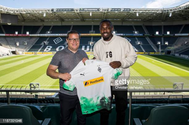 Borussia Moenchengladbach unveils new signing Marcus Thuram at BorussiaPark on July 22 2019 in Moenchengladbach Germany