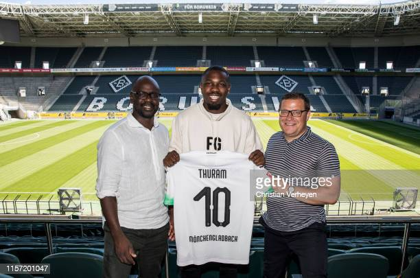 Borussia Moenchengladbach unveils new signing Marcus Thuram at BorussiaPark on July 22 2019 in Moenchengladbach Germany