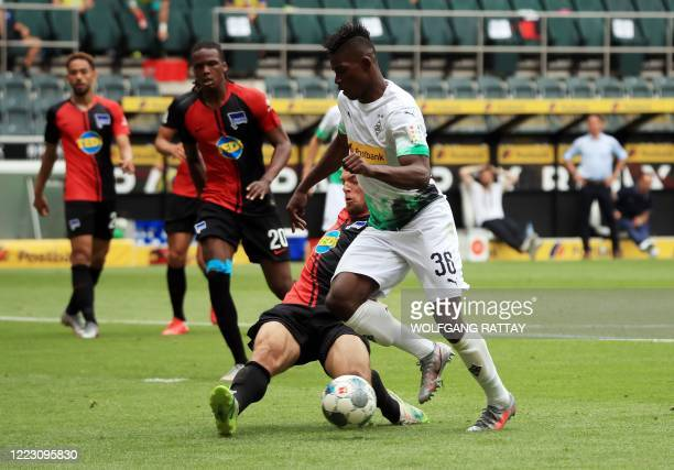Borussia Moenchengladbach's Breel Embolo runs with the ball during the German first division Bundesliga football match between Borussia...