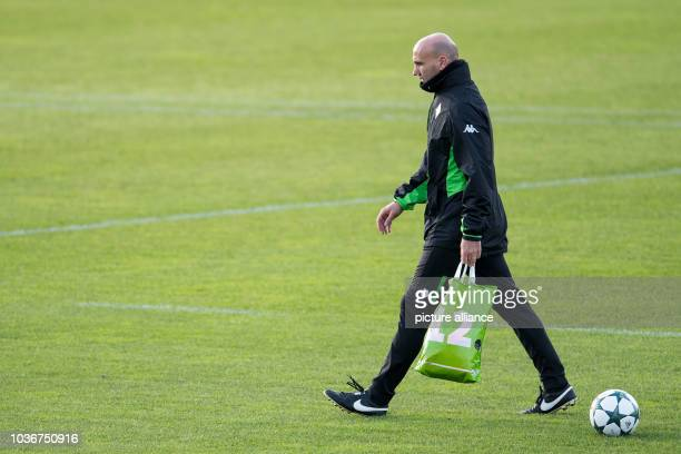 Borussia Moenchengladbach's coach Andre Schubert during a training session ahead of the team's Champions league fixture on the 23.11.16 with English...