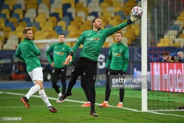 Borussia Moenchengladbach's German goalkeeper Tobias Sippel warm up prior the UEFA Champions League football match group B between Shakhtar Donetsk...