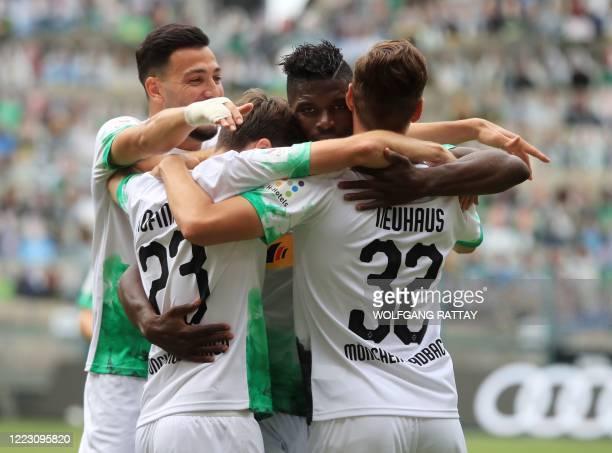 Borussia Moenchengladbach's Jonas Hofmann celebrates scoring their first goal during the German first division Bundesliga football match between...
