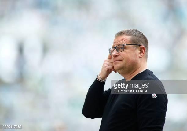 Borussia Monchengladbach' sport director Max Eberl is seen prior to the German first division Bundesliga football match Borussia Moenchengladbach v...