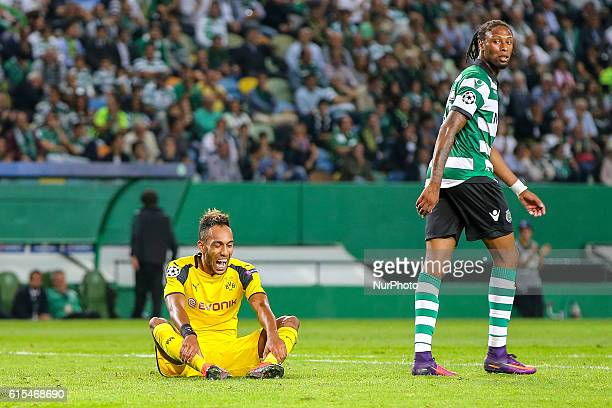 Borussias forward Pierre Aubameyang from Gabon and Sportings defender Ruben Semedo from Portugal in action during the UEFA Champions League match...