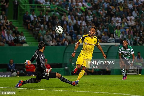Borussias forward Pierre Aubameyang from Gabon in action during the UEFA Champions League match between Sporting Clube de Portugal and Borussia...