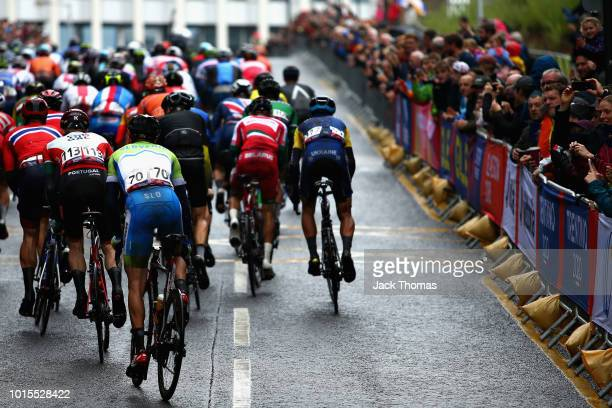 Borut Bozic of Slovenia rides in the peloton in the Men's Road Race during the road cycling on Day Eleven of the European Championships Glasgow 2018...