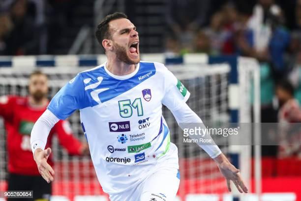 Borut Mackovsek of Slovenia celebrates during the Men's Handball European Championship Group C match between Slovenia and Germany at Arena Zagreb on...
