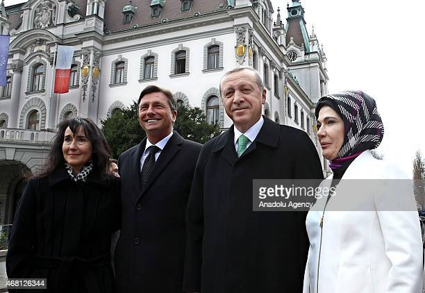 Borut Pahor President of the Republic of Slovenia and his wife Tanja Pecar welcome Turkish President Recep Tayyip Erdogan and his wife Emine Erdogan...