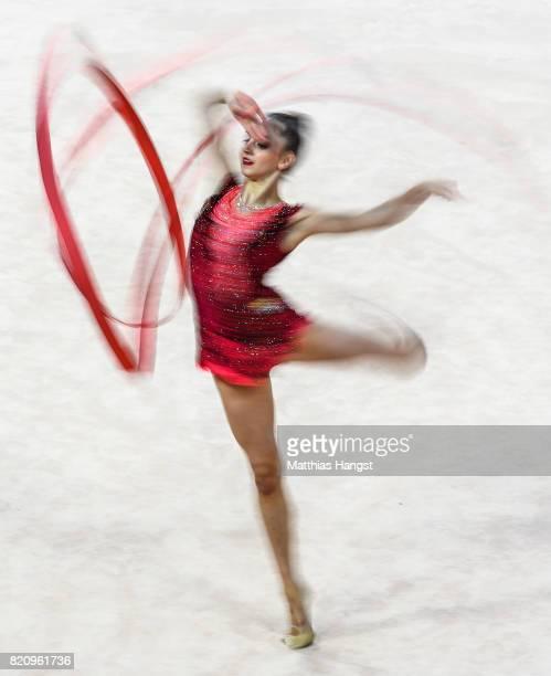Boryana Kaleyn of Bulgaria competes during the Rhythmic Gymnastics Women's Individual Ribbon Qualification of The World Games at Centennial Hall on...